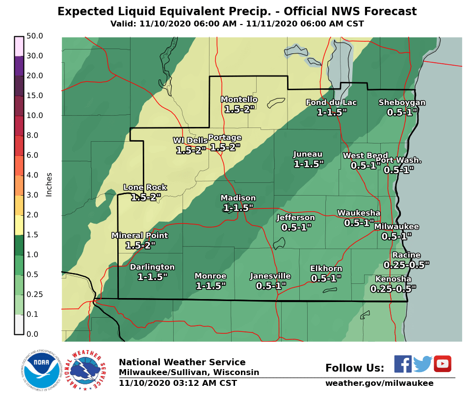 Expected rain totals by National Weather Service