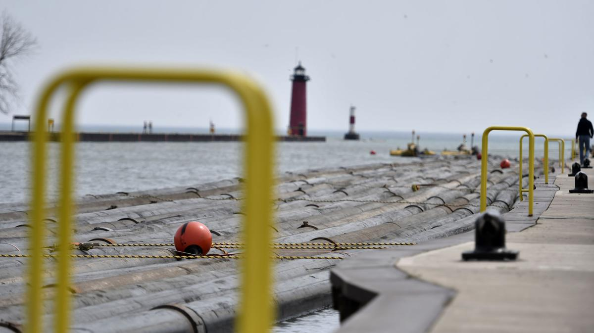 Dredging pipes in Kenosha harbor