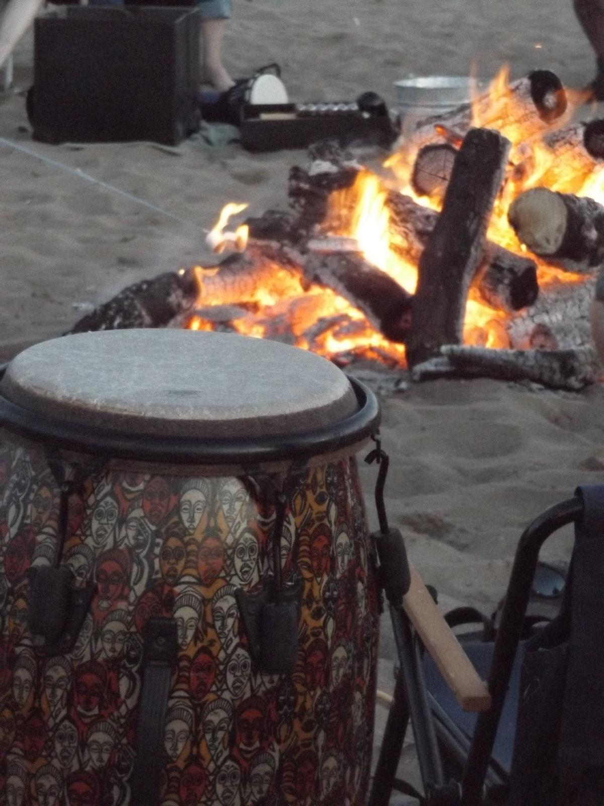Pop Up Beer Garden bonfire and drum