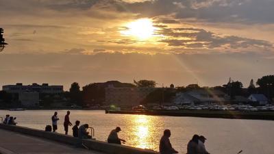 Virgil Warner: Fishing at sunset