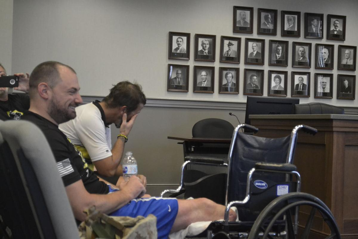 Wounded KY marine takes final break in Hopkinsville on bike tour