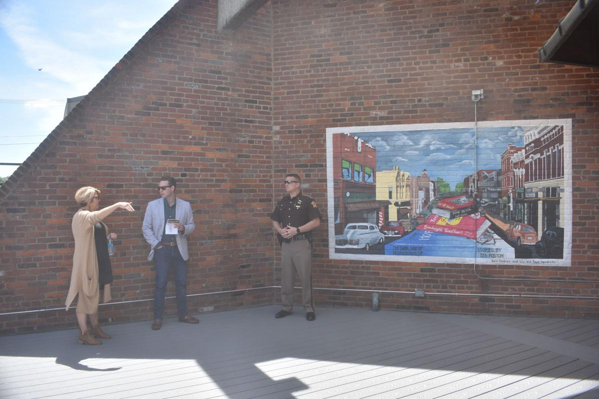 Chamber leadership, library reveal completed patio project