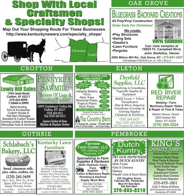 New Specialty shops | | Kentucky New Era