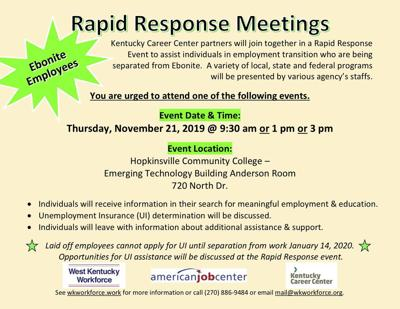 Rapid response job event planned for former Ebonite employees
