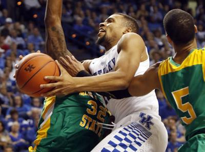 7654fb7a37a Kentucky s Jamal Murray dunks during the second half of a college  basketball exhibition game against Kentucky State on Friday