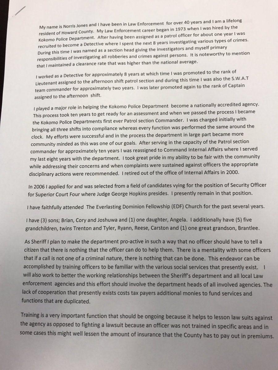 Norris Jones statement