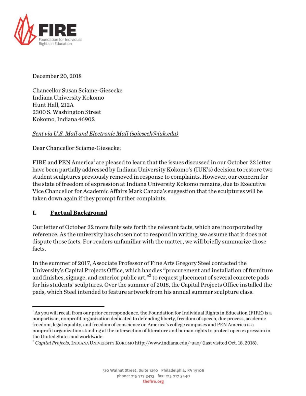 Dec. 20 letter from FIRE and PEN America