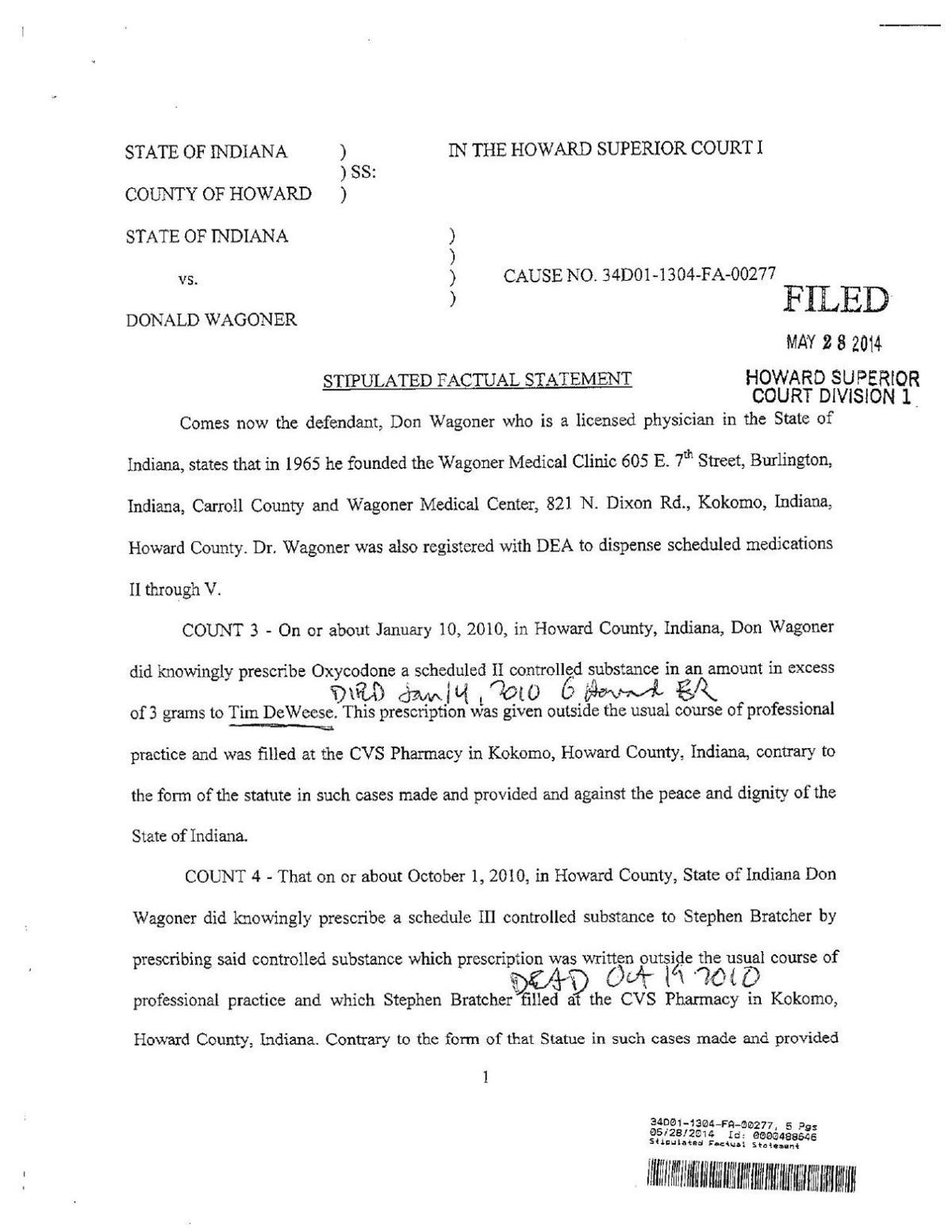 Wagoner plea and sentencing