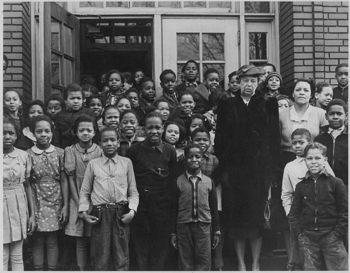 Another photo of Eleanor Roosevelt at Douglass School