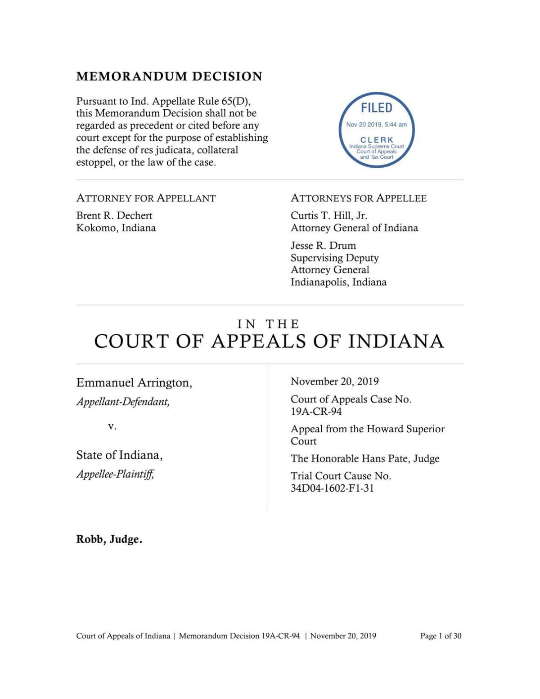 Emmanuel Arrington appeal ruling