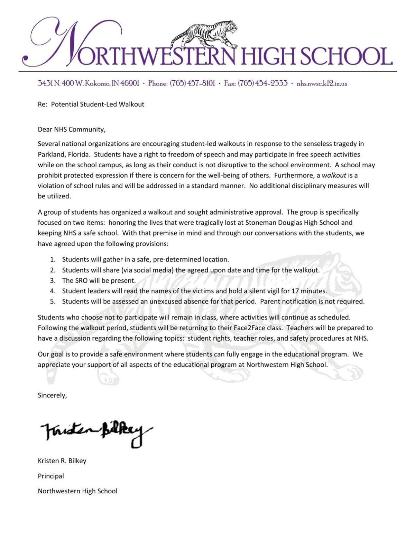 NHS Walkout Letter to Parents | | kokomotribune com