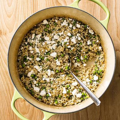 Food Column ATK Brown Rice Pilaf with Peas, Feta and Mint