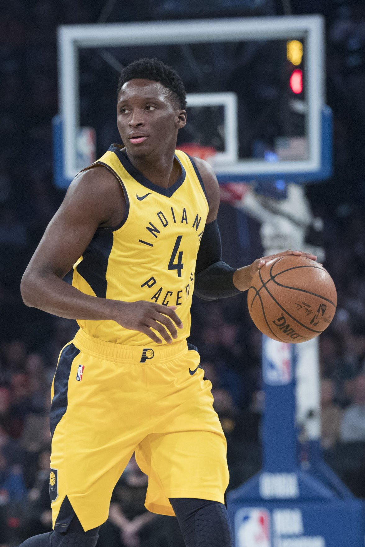 dcabdda1ab4 GO-TO PLAYER  Indiana guard Victor Oladipo handles the ball during the  Pacers  game against the Knicks on Oct. 31 at Madison Square Garden in New  York.