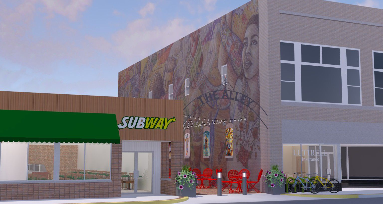 Concept Art For The Alley In The 100 Block Of South Main Street, Tipton.  Submitted Image.