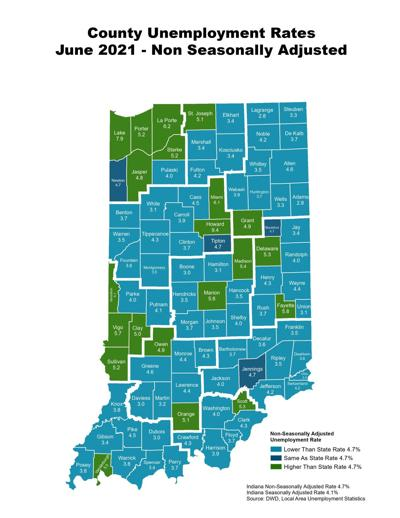 Indiana June 2021 unemployment rates