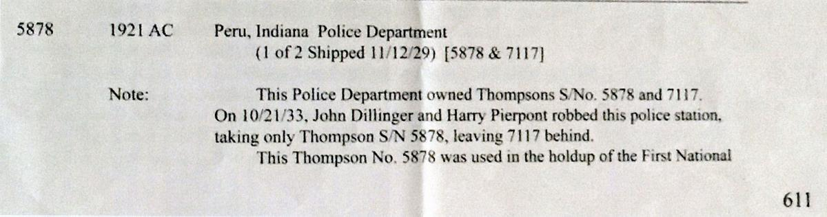 Peru officials seek Tommy gun stolen by John Dillinger