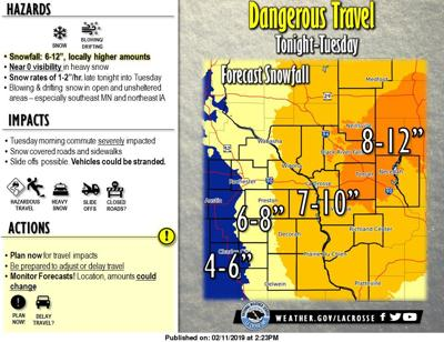 Map: Winter storm could bring up to 10 inches of snow to La Crosse area