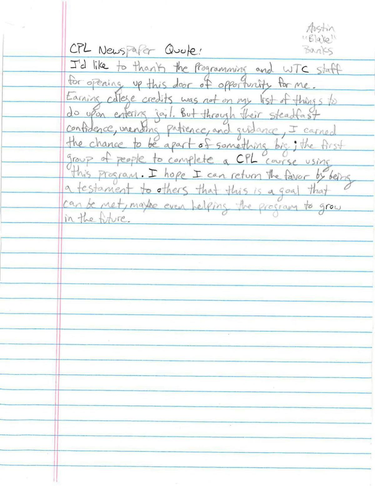 Letter from Austin Banks, Project Proven student