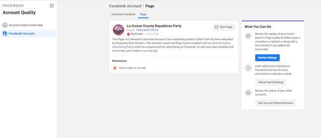 La Crosse County Republican Party Facebook page restrictions