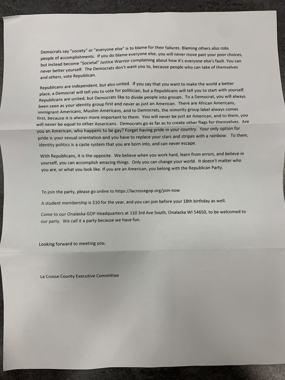 Letter to area high school seniors from La Crosse Republican Party (page 2)