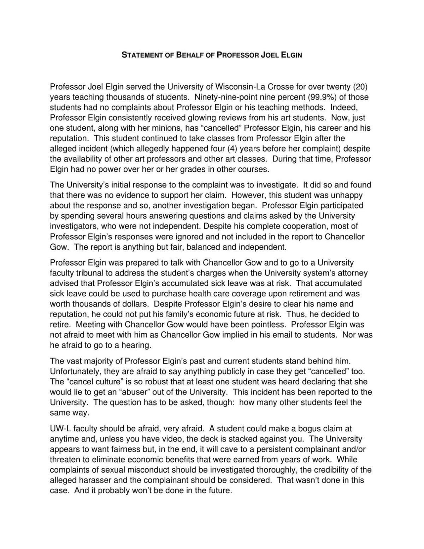 Statement on behalf of Joel Elgin