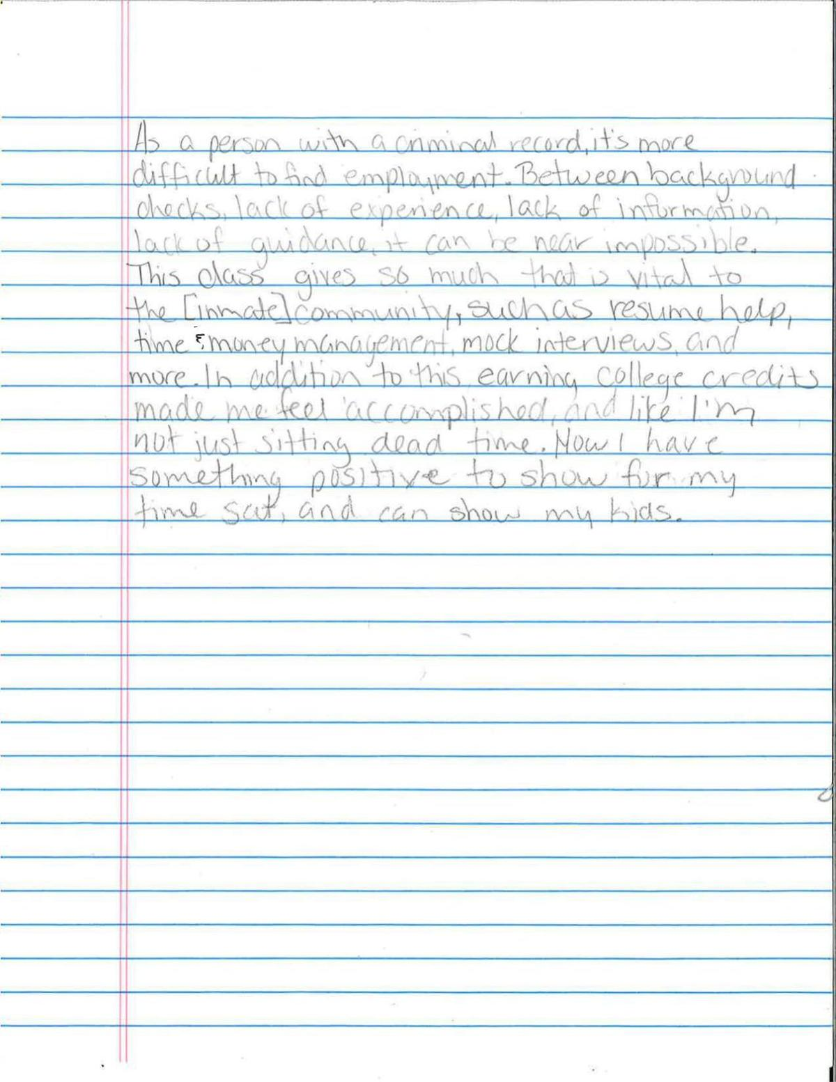 Letter from Trish Abbott Mathews, Project Proven student