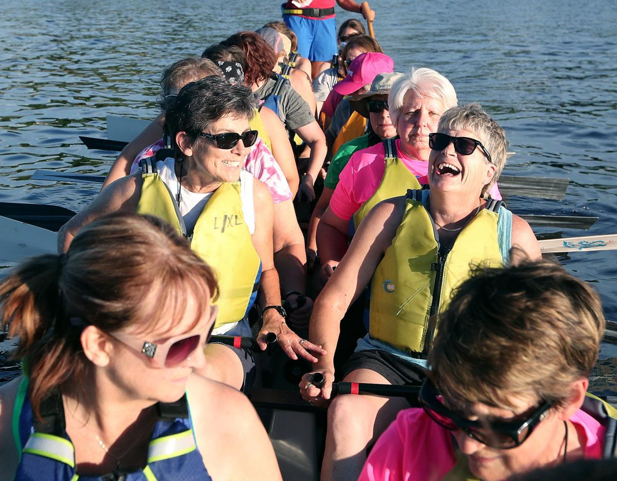 Big Blue Dragon Boat Ambassador laugh shot