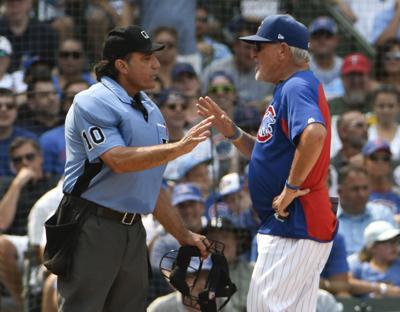 Joe Maddon argues with ump, AP photo
