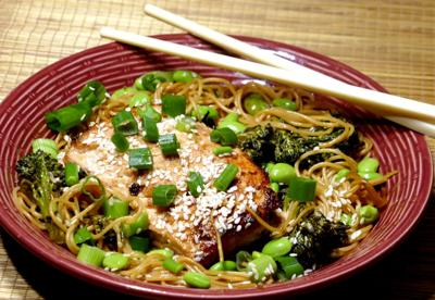 Ginger salmon with steamed noodle stir fry.