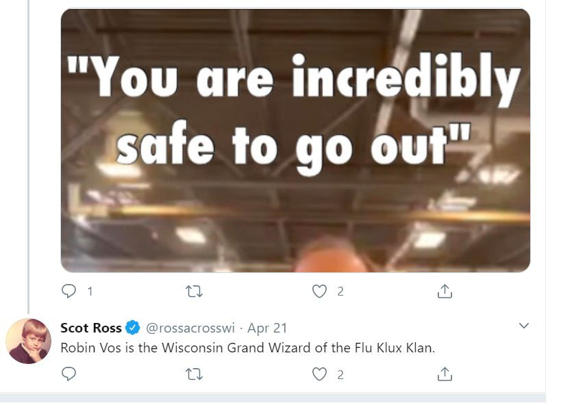 "Scot Ross calls Robin Vos ""Grand Wizard"""