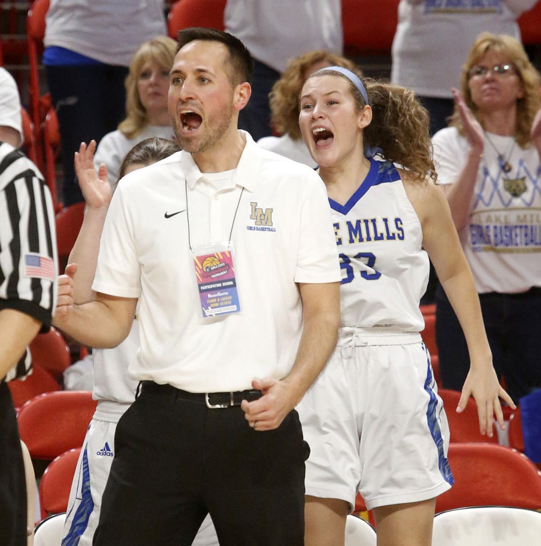 WIAA state girls basketball photo: Lake Mills coach Brandon Siska cheers