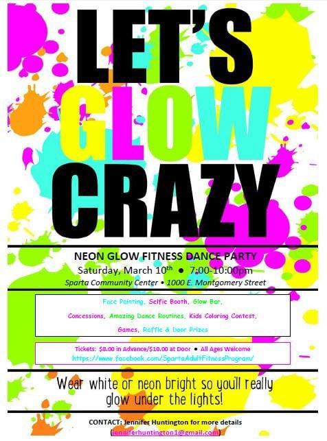 Neon Glow Fitness Dance Party Flyer