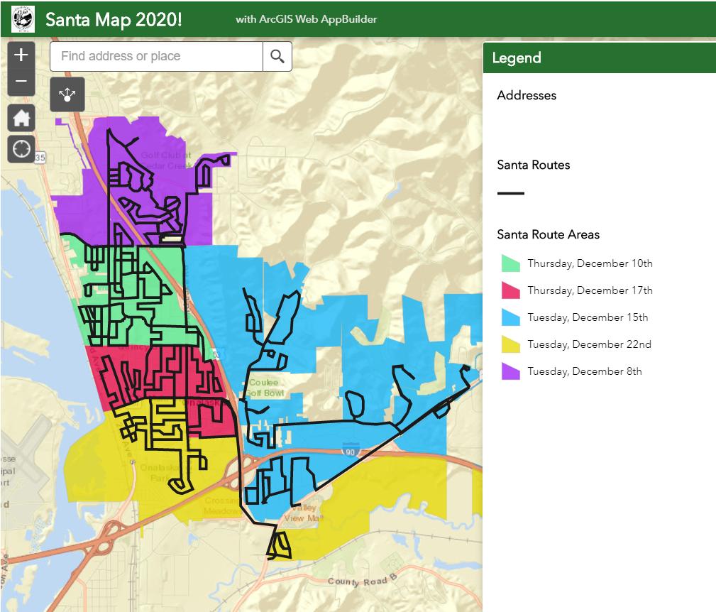 Onalaska 2020 Santa parade routes