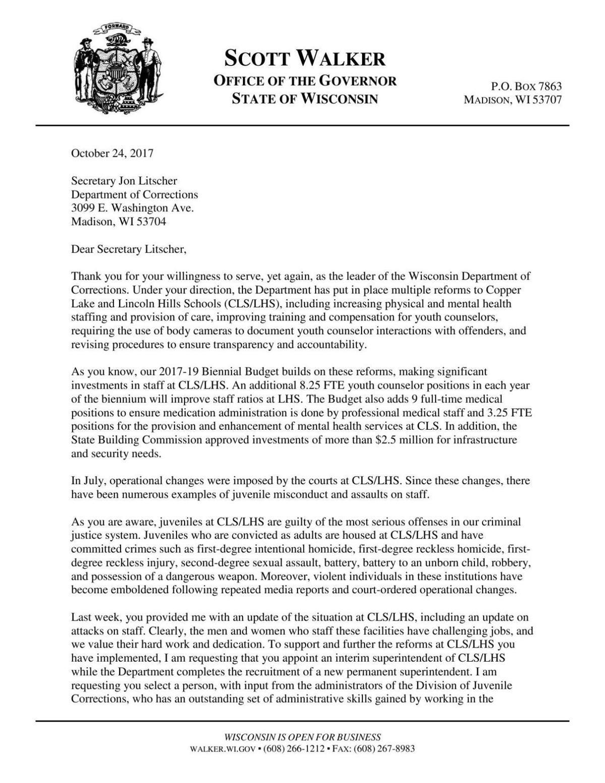 Gov. Scott Walker's letter to Secretary Jon Litscher