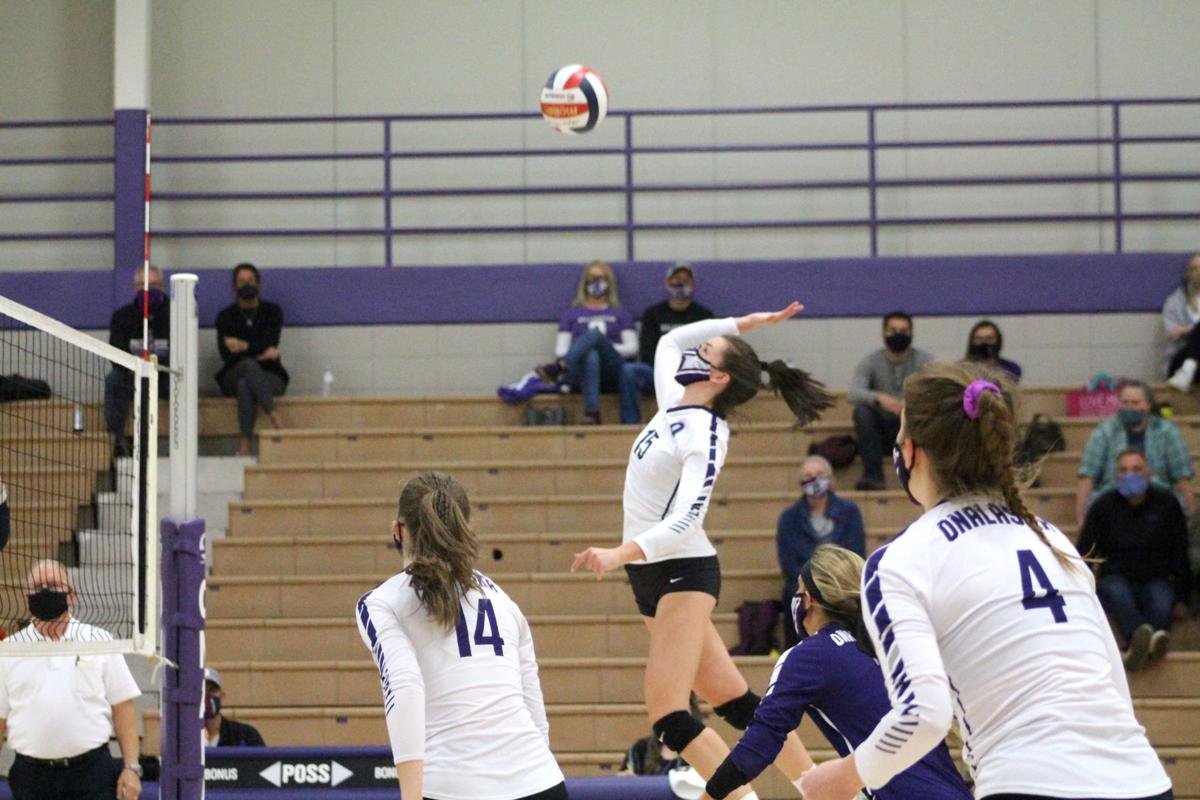 Ava Smith prepares to spike the ball