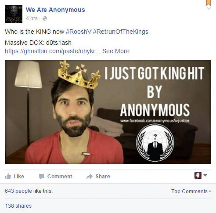 """The hactivist group Anonymous took on """"legal rape"""" blogger Daryush  Valizadeh (also known as Roosh V). He canceled an international meetup day  after it ..."""