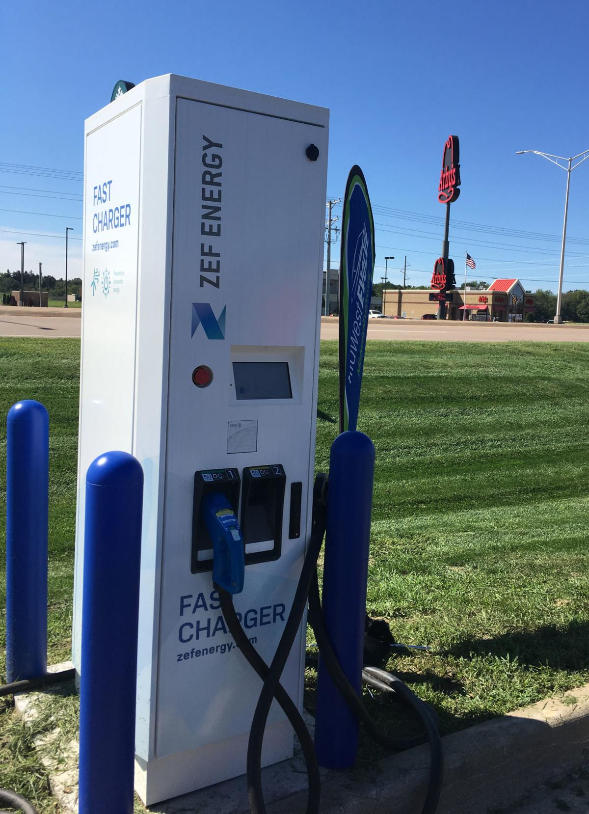 A Grand Opening Celebration And Ribbon Cutting Was Held For The Dc Fast Charger At New Electric Vehicle Charging Station Ground Round In Tomah