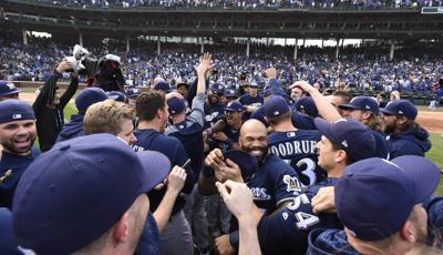 Brewers celebrate Game 163 win, AP photo