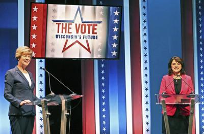 Tammy Baldwin, Leah Vukmir debate, AP photo