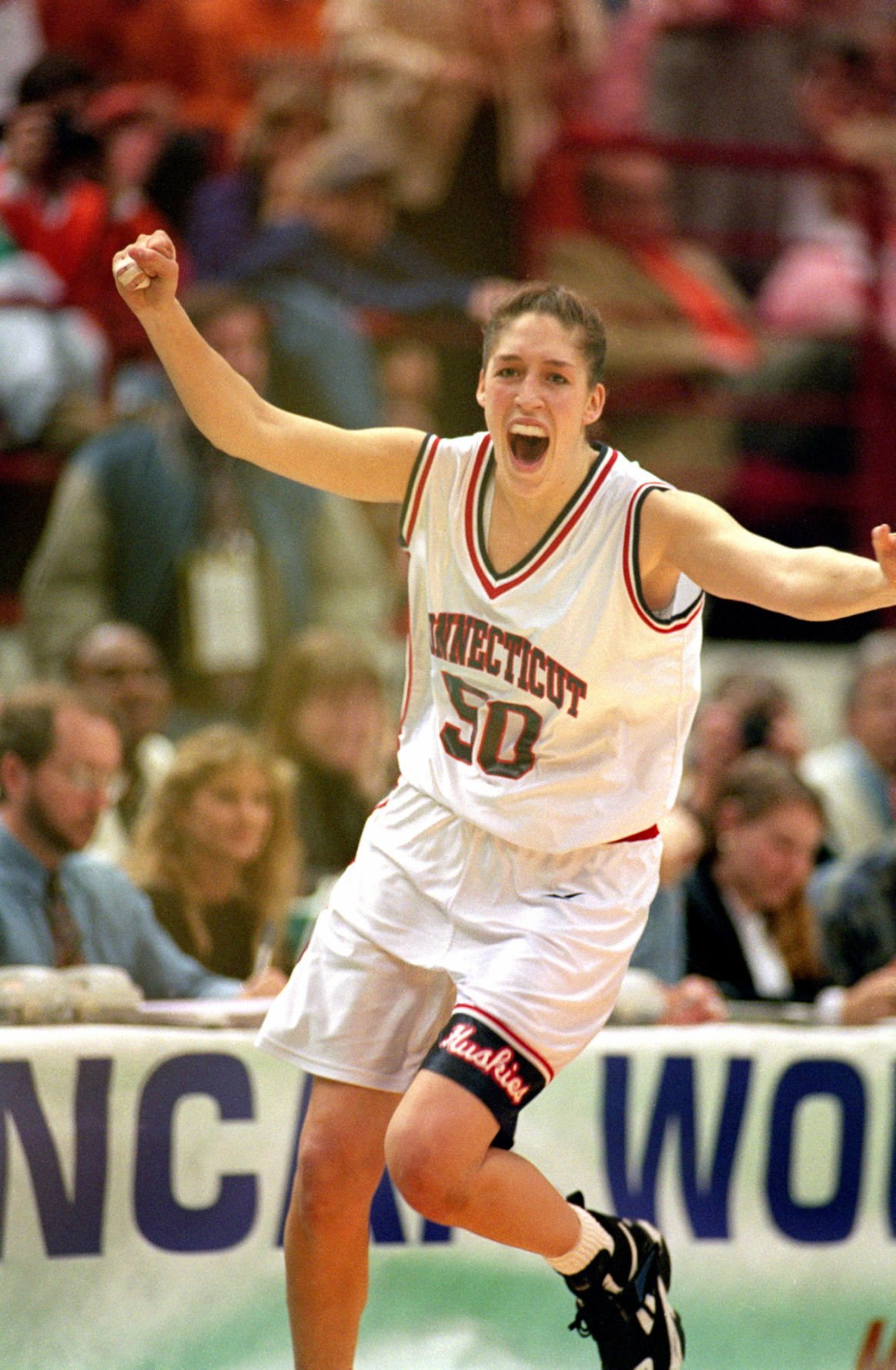 Connecticut's Rebecca Lobo exults as her team defeats the University of Tennessee to win the NCAA Championship on April 2, 1995, in Minneapolis. **FOR USE WITH THIS STORY ONLY**