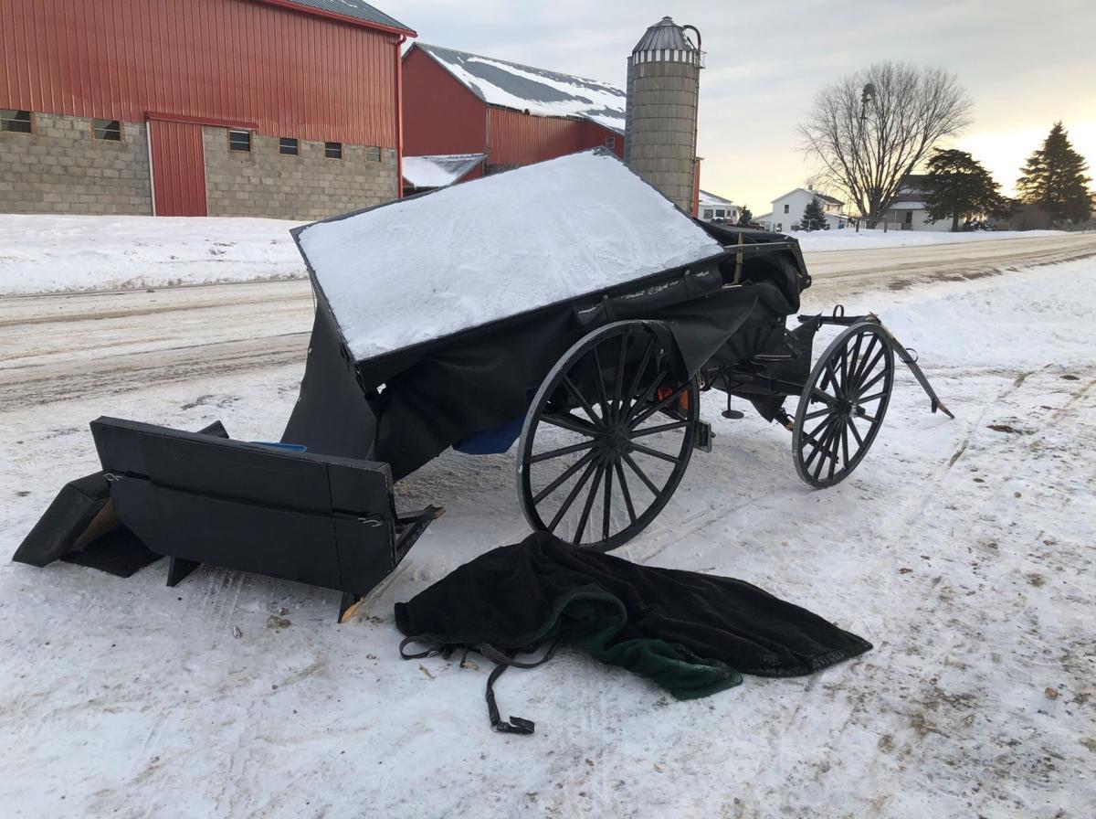 Car vs horse-drawn buggy collision