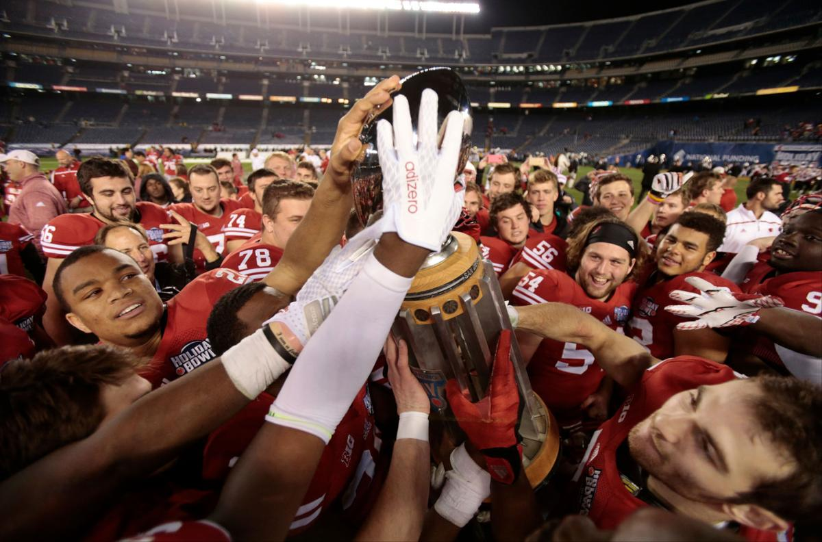 Badgers celebrate Holiday Bowl win, State Journal photo