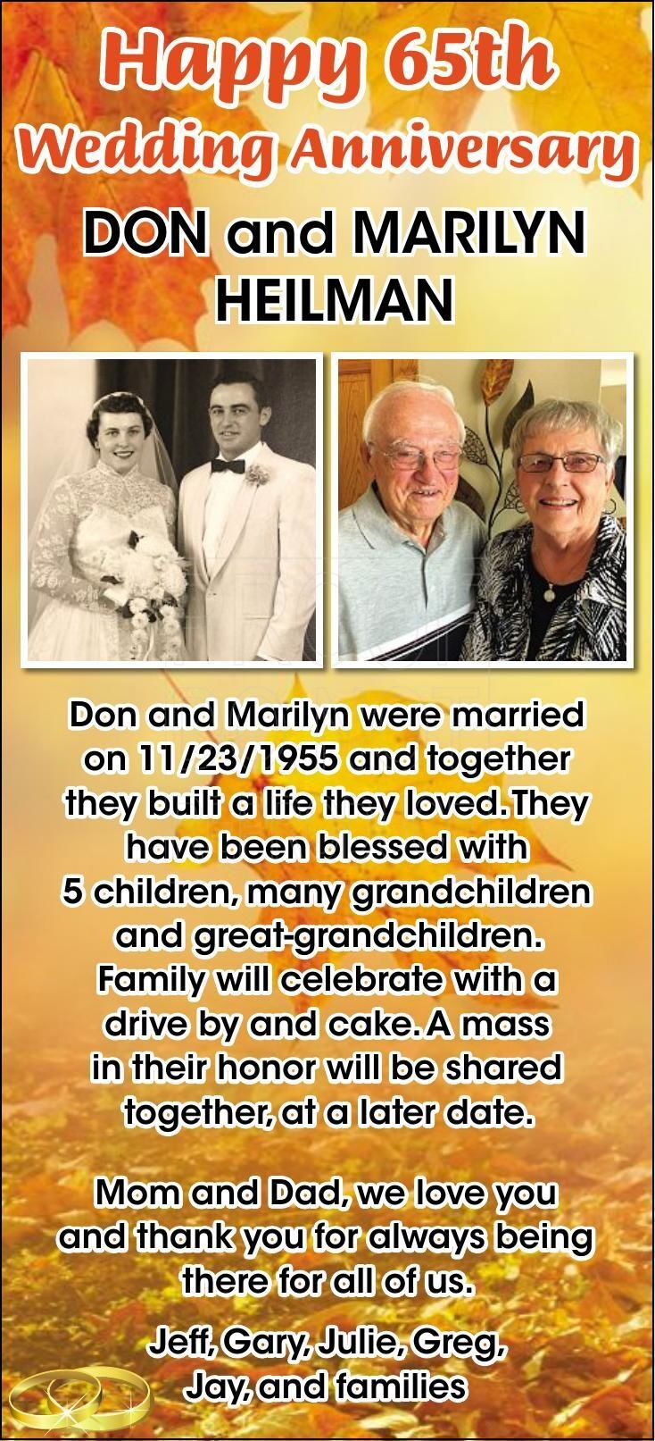 Don and Marilyn Heilman 65th Anniversary