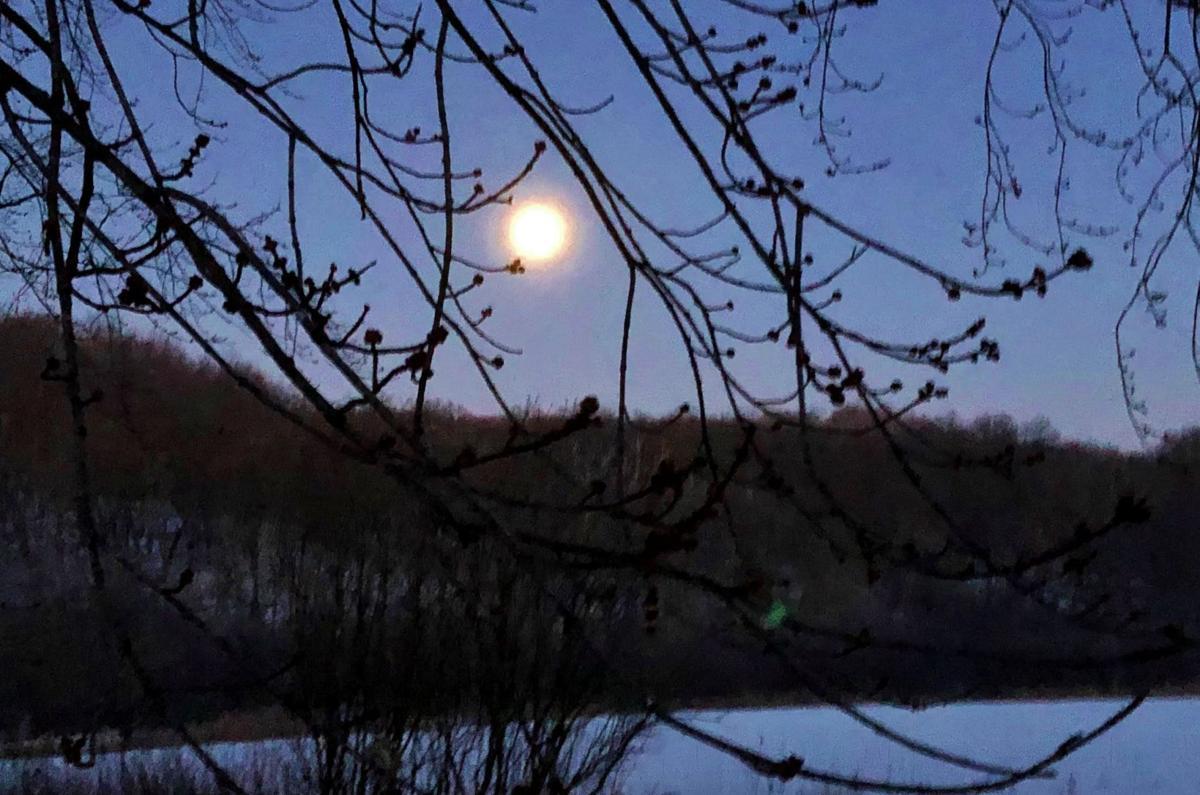 Full moon rises over lake