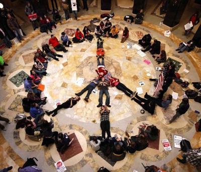 Peace sign on Capitol floor