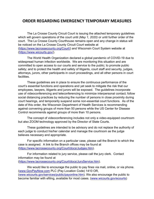 La Crosse County Circuit Court Emergency Temporary Measures Order