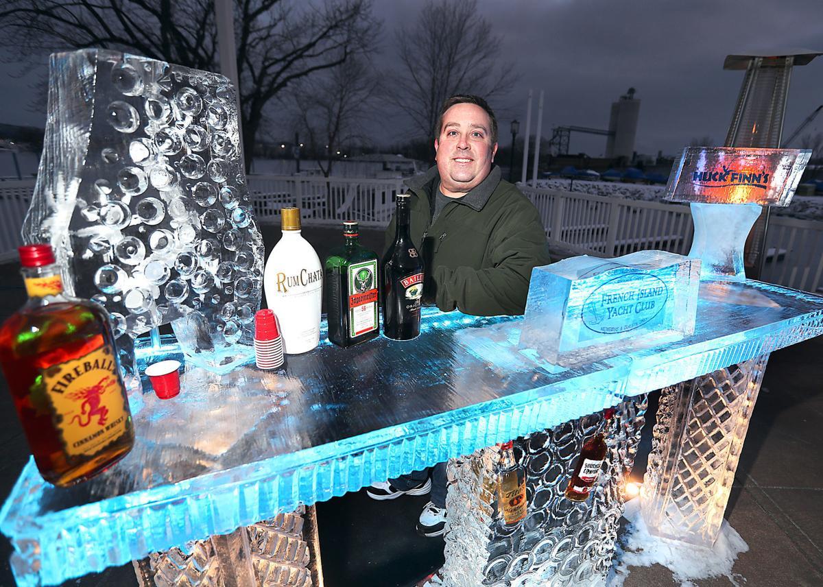 Chet Hawkins with Huck Finn's ice bar