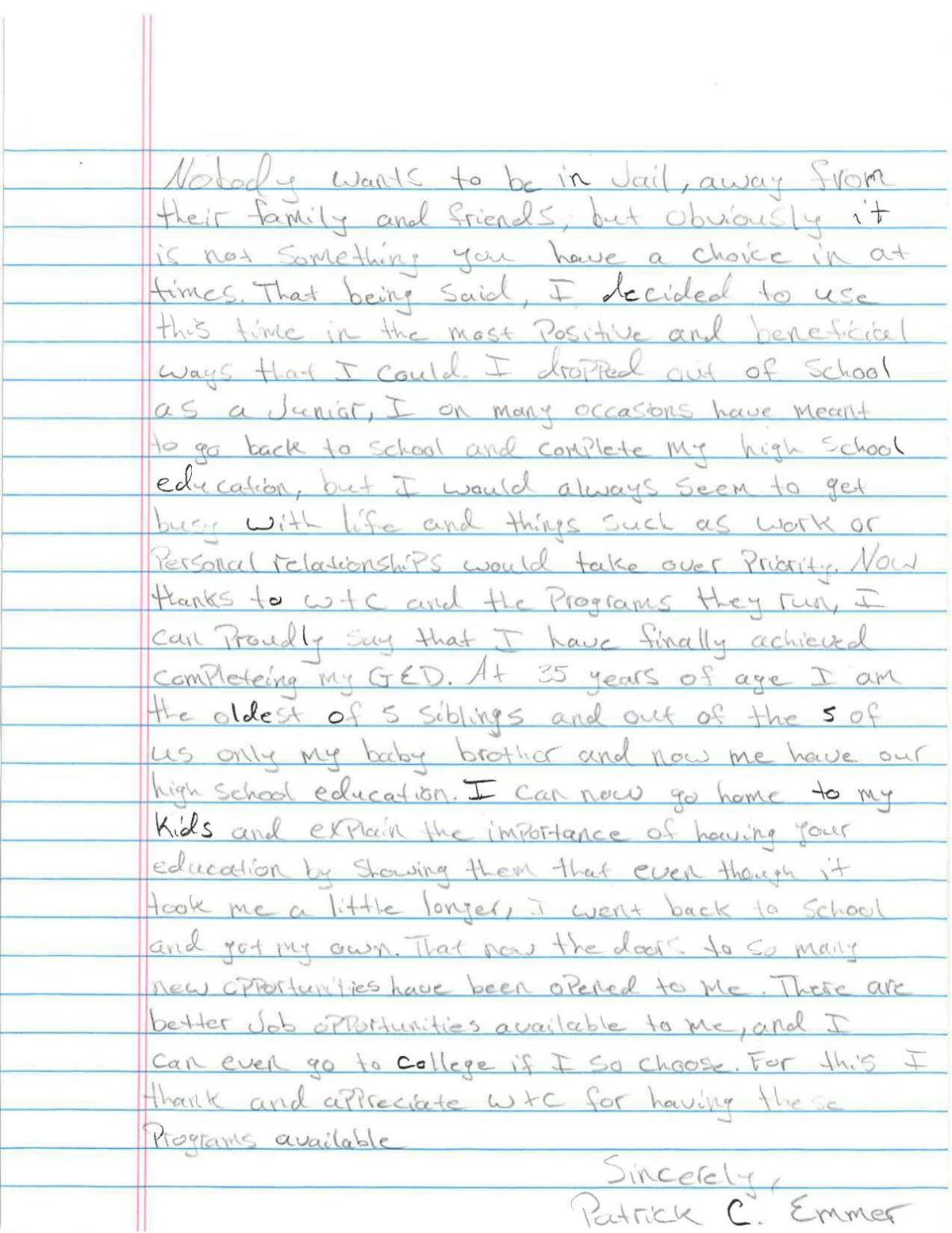 Letter from Patrick Emmer, Project Proven student