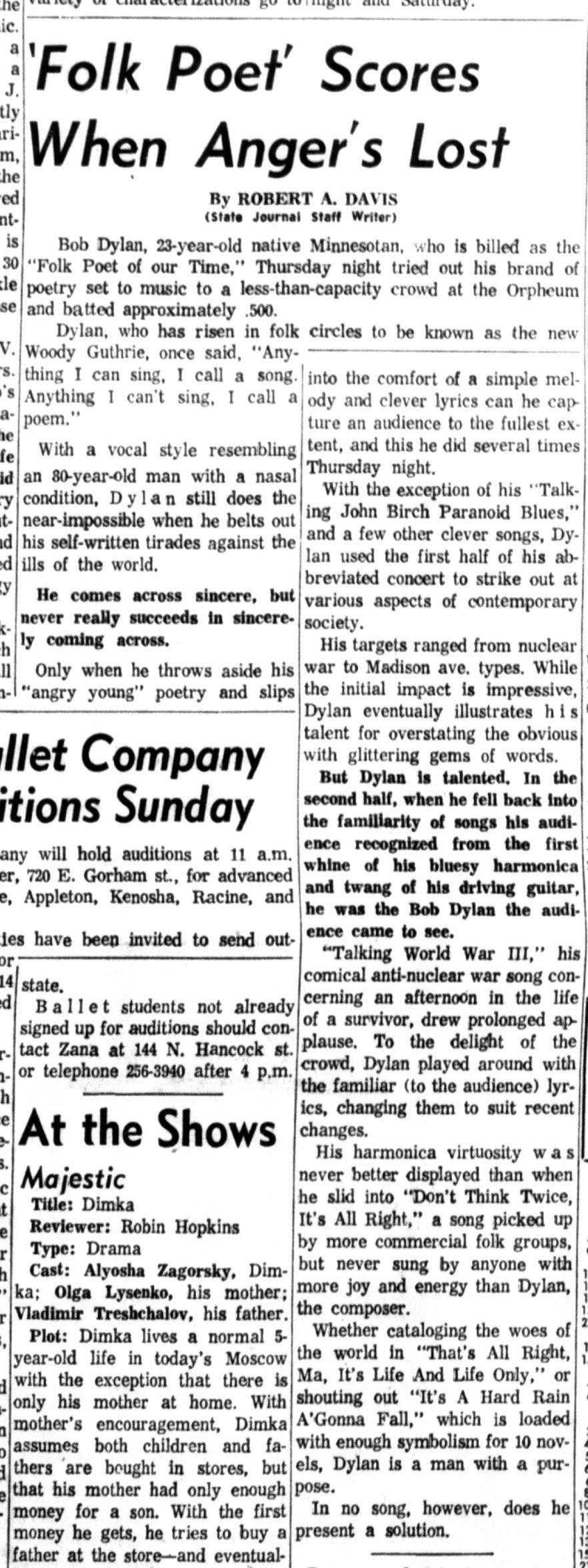 1964 Bob Dylan concert review (Wisconsin State Journal)