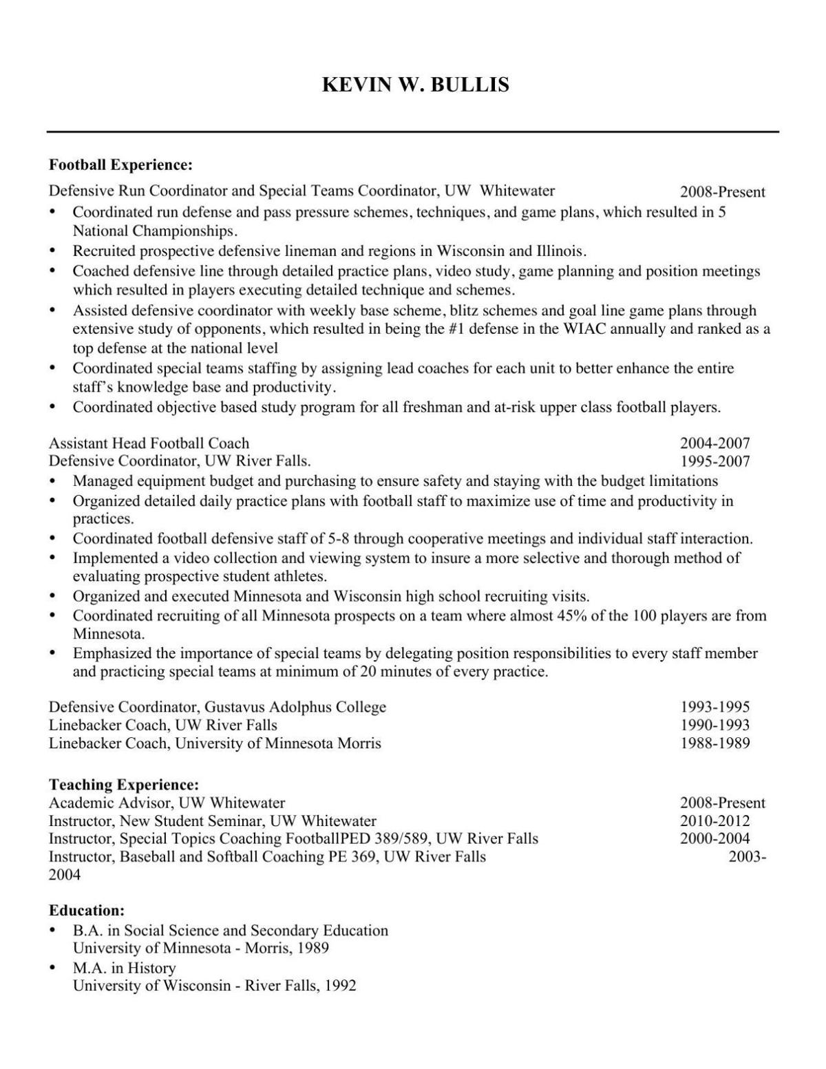 Kevin Bullis Resume For Uw Whitewaters New Head Football Coach